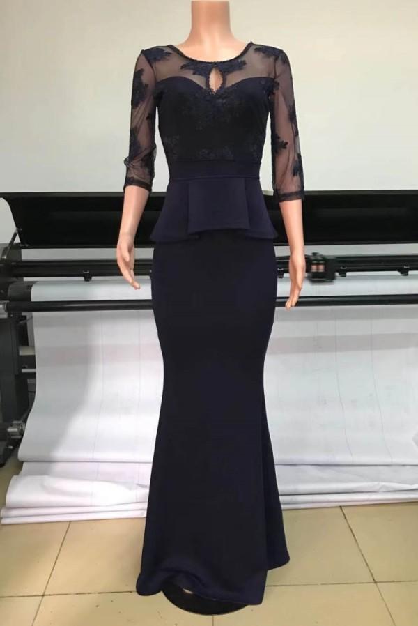 Vestido de noche de sirena Peplem con parche azul oscuro formal de verano