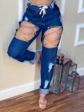 Vaqueros rectos de cintura alta con cadenas rotas dañadas de verano azul