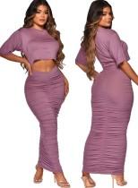 Summer Casual Purple Crop Top y Falda midi fruncida Conjunto de 2 piezas