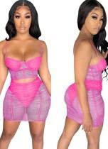 Summer Party Rose Conjunto de minifalda y top corto con tiras de malla transparentes