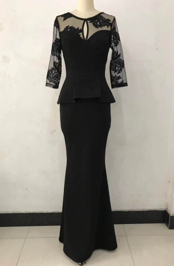 Vestido de noche de sirena Peplem con parche negro formal de verano