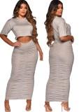 Conjunto de 2 piezas de top corto gris informal de verano y falda midi fruncida