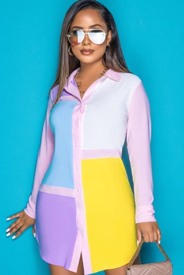 Vestido de blusa de manga larga con bloque de color casual de otoño