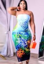 Vestido de club de tubo floral sexy de verano de talla grande