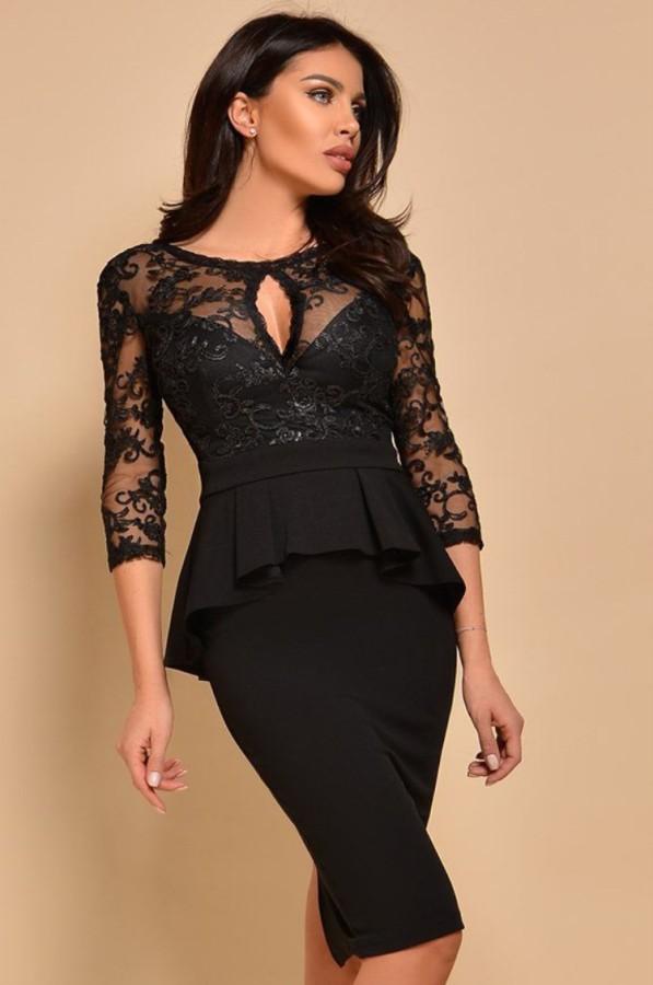 Vestido a media pierna de encaje negro con peplem superior formal de verano