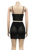 Summer Party Conjunto de minifalda y top corto con correa de malla transparente en negro