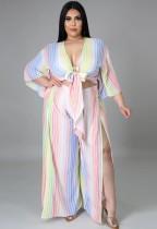 Sommer Plus Size Stripes Crop Top und geschlitzte Hose 2er SetPC