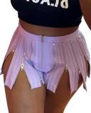 Pantalones cortos de hendidura con cremalleras sexy morados de fiesta de verano