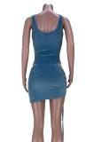 Summer Party Blue Sexy Cut Out Body y conjunto de minifalda fruncida
