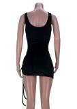 Fiesta de verano Body negro con corte sexy y minifalda fruncida