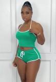 Summer Sports Green Chaleco y pantalones cortos 2PC Chándal