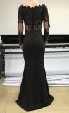 Vestido de noche con abertura de manga larga superior de encaje negro formal de verano
