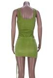 Summer Party Green Sexy Body recortado y conjunto de minifalda fruncida
