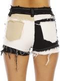 Pantalones cortos de mezclilla ajustados en bloque de color con parche de estilo callejero de verano