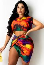 Summer Party Print Colorful Crop Top and Irregular Mini Skirt Set