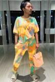 Summer Tie Dye Casual Conjunto de 2 piezas de camisa y pantalones