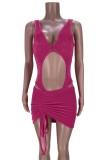Summer Party Pink Sexy Body recortado y conjunto de minifalda fruncida