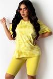 Summer Casual Yellow Tie Dye Shirt y Shorts de motociclista lisos Conjunto de 2 piezas