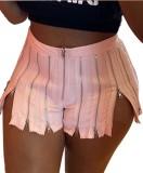 Summer Party Pink Sexy Cremalleras Slit Shorts