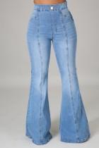 Summer Washed Blue High Waist Regular Flare Jeans