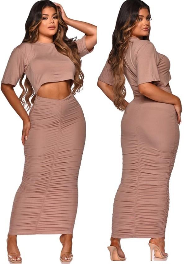 Conjunto de 2 piezas con top corto rosa informal de verano y falda midi con pliegues