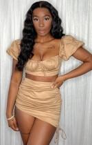 Summer Khaki Square Crop Top y minifalda fruncida Conjunto de 2 piezas