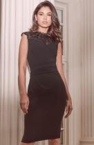 Vestido midi elegante superior de encaje negro formal de verano
