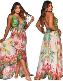 Lange maxi-jurk met zomerprint en rugloze hoge lage halter