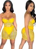 Summer Party Conjunto de minifalda y top corto con correa de malla transparente en amarillo