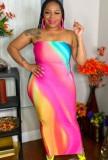 Vestido de club de tubo de arco iris sexy de verano de talla grande