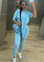 Sommerblauer unregelmäßiger Trainingsanzug mit Kapuze und Hose