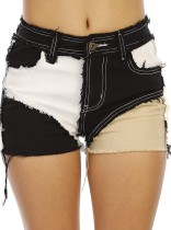 Sommer-Street-Style-Patch-Farbblock-Jeansshorts