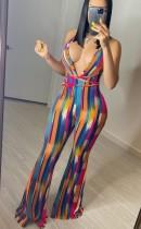 Summer Party Sexy Multicolor Deep-V Halter Jumpsuit