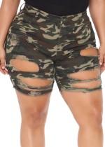 Summer Camou zerrissene Denin-Shorts mit hoher Taille