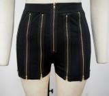 Pantalones cortos negros con cremallera sexy para fiesta de verano