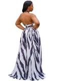 Vestido maxi largo con cuello halter y rayas sexy de verano