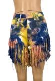 Pantalones cortos de mezclilla con borlas de talle alto Tie Dye de verano