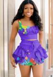 Summer Party Purple Paints Strap Crop Top y Minifalda Set de 2 piezas