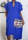 Vestido con estampado irregular informal africano de verano
