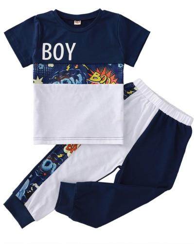 Kids Boy Summer Two Piece Print Shirt and Pants Set