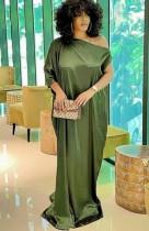 Vestido largo con hombros descubiertos verde formal de talla grande de verano