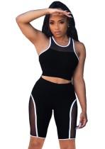 Summer Sports Black Patch Weste und Biker Shorts 2PC Matching Set