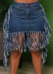 Летние темно-синие джинсовые юбки с бахромой и бахромой