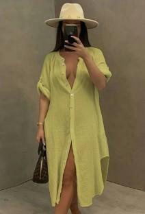 Zomer casual gele katoenen spleet lange blousejurk
