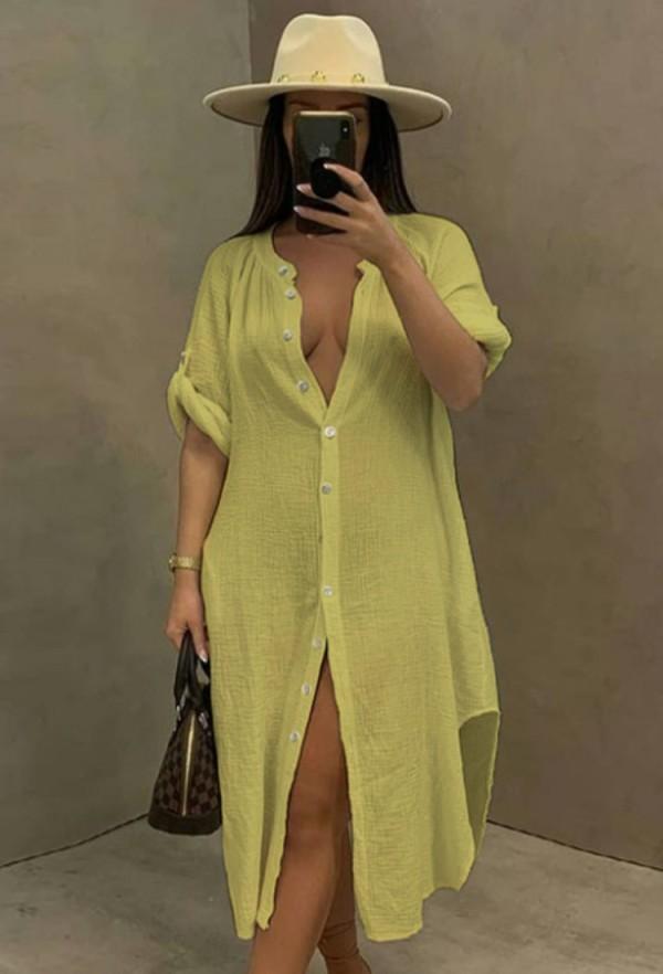 Vestido de blusa larga con abertura de algodón amarillo casual de verano