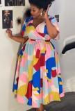 Vestido skater decente multicolor de talla grande de verano de África