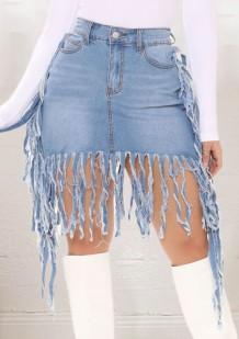 Летние голубые джинсовые юбки с бахромой и бахромой