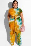Summer Plus Size Tie Dye Top corto anudado y pantalones a juego Conjunto de 2 piezas