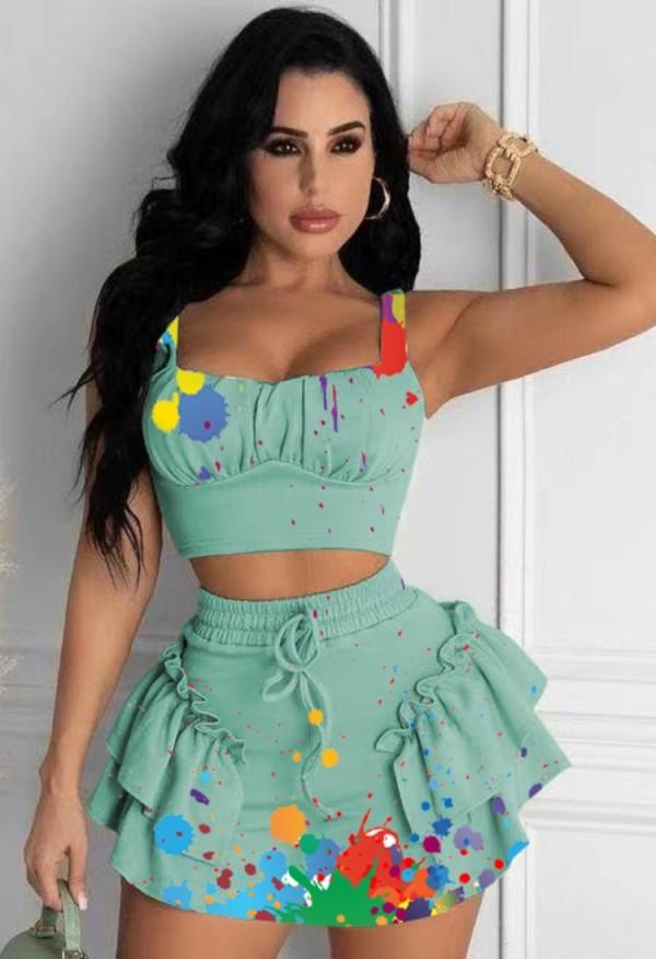 Summer Party Green Paints Strap Crop Top y Minifalda Set de 2 piezas