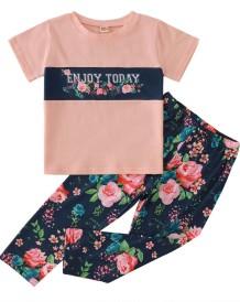 Set camicia e pantaloni estivi a due pezzi per bambina e bambina